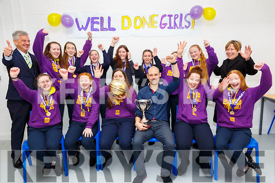 St Joseph's Secondary School Ballybunion girls won the All-Ireland Schools U16 Basketball in Dublin on Tuesday. Front l-r: Abigail O'Neill, Kayleigh Elbell, captain Millie Byrne (MVP), Gavin Daly (coach), Aoife Scanlan, Eabha Maloney. Back l-r: Principal John O'Donovan, Nora Fitzsimons, Katie Dunworth, Caoimhe O'Connor, Ava Barrett, Elida Buckley, Mai Whelan, Aisling Hennessy and Trish Byrne.