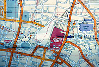 London: Street Map, detail: Liverpool Station--Spitalfield Market Area. 1990.  Reference only.