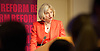 Rt Hon Theresa May MP<br /> Home Secretary <br /> keynote speech <br /> at Reform event <br /> &quot;Lessons of police reform&quot;<br /> 3rd September 2014 <br /> Westminster, London, Great Britain <br /> <br /> Theresa May <br /> Home Secretary <br /> <br /> with Reform Director, Andrew Haldenby.<br /> <br /> Photograph by Elliott Franks <br /> Image licensed to Elliott Franks Photography Services