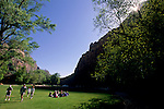 Grass lawn at Zion Lodge, Zion Canyon, Zion National Park, UTAH