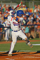 Whiteville High School Wolfpack shortstop Jake Harwood (5) at bat during a game against the Rosewood High School Eagles at Legion Stadium on May 26, 2017 in Whiteville, North Carolina. Whiteville defeated Rosewood 5-0 to win the eastern 1-A baseball championship and advance to the state finals. (Robert Gurganus/Four Seam Images)