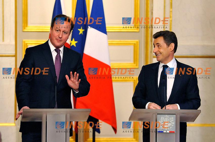 David Cameron Primo Ministro Inglese e Nicolas Sarkozy Presidente della Repubblica Francese.Parigi 17/2/2012 Eliseo.Summit Francia Inghilterra.Foto Insidefoto / Gerard Roussel / Panoramic.Italy Only