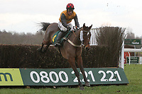 Shockingtimes ridden by Daryl Jacob in jumping action during the Betfair Don't Settle for Less Beginners Chase - Horse Racing at Fakenham Racecourse, Norfolk