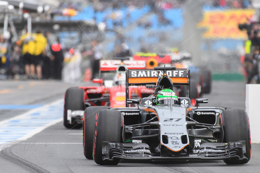 March 19, 2016: Nico Hulkenberg (DEU) #27 from the Sahara Force India F1 team leaving the pits for qualifying at the 2016 Australian Formula One Grand Prix at Albert Park, Melbourne, Australia. Photo Sydney Low