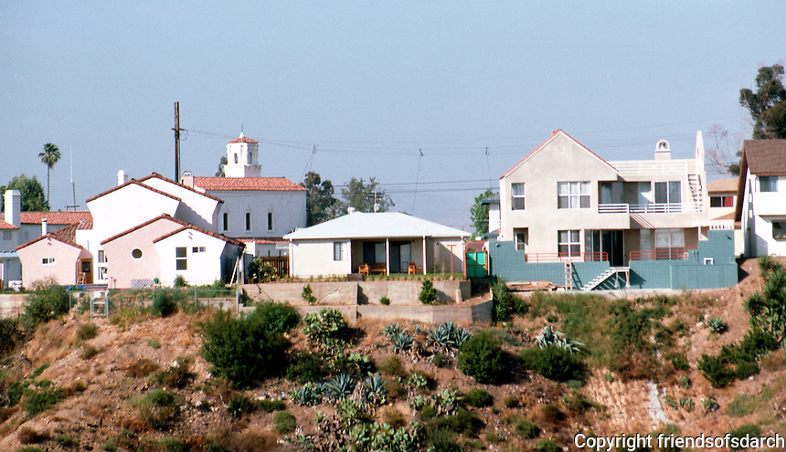 San Diego: Houses on 34th St., Normal Heights. (Photo from across canyon.) Photo '87.