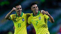 ARMENIA, COLOMBIA - JANUARY 19: Brazil's Paulinho celebrates a goal with his teammate Antony during their CONMEBOL Pre-Olympic soccer game against Peru at Centenario Stadium on January 19, 2020 in Armenia, Colombia. (Photo by Daniel Munoz/VIEW press/Getty Images)