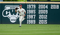 NWA Democrat-Gazette/BEN GOFF @NWABENGOFF<br /> Dominic Fletcher, Arkansas center fielder, catches a fly ball in the 4th inning vs LSU Saturday, May 11, 2019, at Baum-Walker Stadium in Fayetteville.
