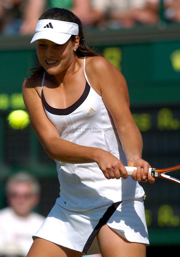 Photo: Richard Lane..Wimbledon Championships. 03/07/2006. .Ana Ivanovic of Serbia and Montenegro returns.