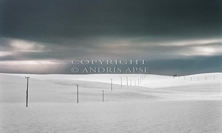 Mackenzie Country under snow. Canterbury New Zealand.