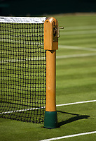 A detail of the net on Court 2<br /> <br /> Photographer Ashley Western/CameraSport<br /> <br /> Wimbledon Lawn Tennis Championships - Day 3 - Wednesday 5th July 2017 -  All England Lawn Tennis and Croquet Club - Wimbledon - London - England<br /> <br /> World Copyright &not;&copy; 2017 CameraSport. All rights reserved. 43 Linden Ave. Countesthorpe. Leicester. England. LE8 5PG - Tel: +44 (0) 116 277 4147 - admin@camerasport.com - www.camerasport.com