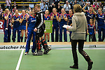 GER - Luebeck, Germany, February 07: During the prize giving ceremony at the Final 4 on February 7, 2016 at Hansehalle Luebeck in Luebeck, Germany. (Photo by Dirk Markgraf / www.265-images.com) *** Local caption ***?Nadine Stelter #13 of Mannheimer HC and Lennart Kueppers (TW) #1 of HTC Uhlenhorst Muehlheim are honored as Best Goalkeepers of the Final4