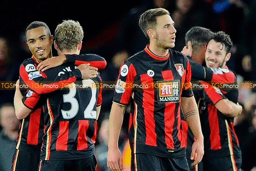 AFC Bournemouth players celebrate at the final whistle during AFC Bournemouth vs Manchester United at the Vitality Stadium