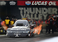 Jun 19, 2015; Bristol, TN, USA; NHRA funny car driver Cruz Pedregon during qualifying for the Thunder Valley Nationals at Bristol Dragway. Mandatory Credit: Mark J. Rebilas-USA TODAY Sports