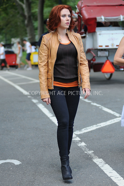 WWW.ACEPIXS.COM . . . . . .September 2, 2011, New York City....Scarlett Johansson on the  movie set of the Avengers in Central Park on September 2, 2011 in New York City in New York City....Please byline: KRISTIN CALLAHAN - ACEPIXS.COM.. . . . . . ..Ace Pictures, Inc: ..tel: (212) 243 8787 or (646) 769 0430..e-mail: info@acepixs.com..web: http://www.acepixs.com .