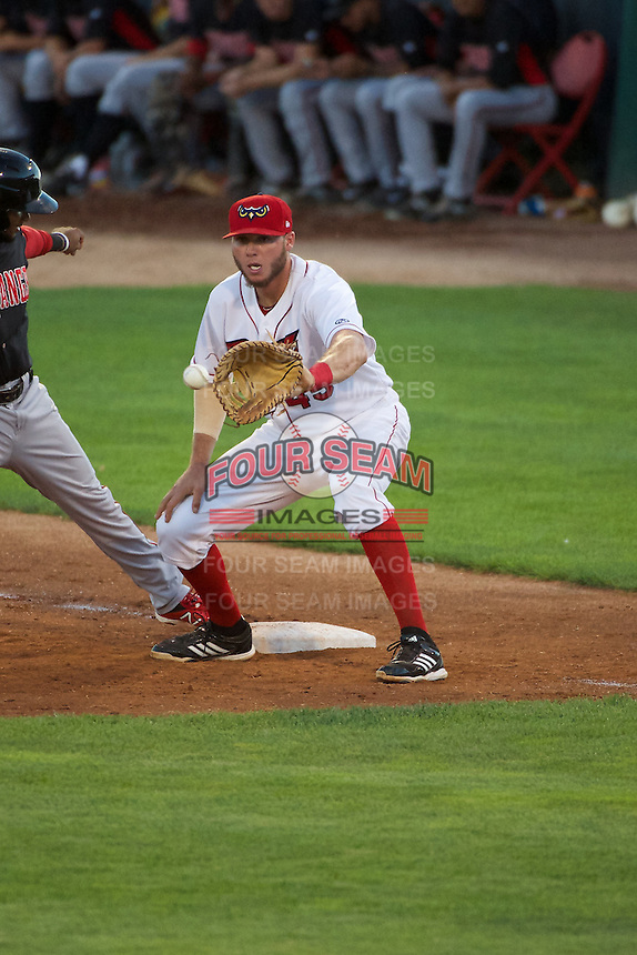 Fran Whitten (45) of the Orem Owlz on defense against the Orem Owlz in Pioneer League action at Home of the OWLZ on August 15, 2014 in Orem , Utah.  (Stephen Smith/Four Seam Images)