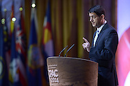 National Harbor, MD - March 6, 2014: Rep. Paul Ryan, Chairman of the House Budget Committee, addresses attendees of the 2014 Conservative Political Action Conference held at National Harbor, MD March 6, 2014.   (Photo by Don Baxter/Media Images International)