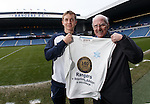 Rangers promote the 140 year anniversary of the founding of the football club. Robbie Crawford with the founding fathers strip with supporter Andy Bain