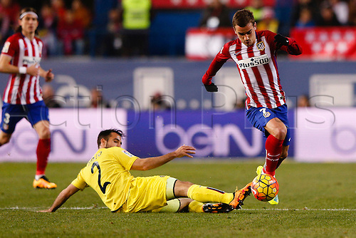 21.02.2016. Madrid, Spain.  Mario Gaspar Perez Martinez (2) Villerreal CF and Antonie Griezmann (7) Atletico de Madrid at the La Liga football match between Atletico de Madrid and Villerreal CF at the Vicente Calderon stadium in Madrid, Spain, February 21, 2016 .