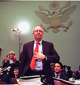 Special Prosecutor Kenneth Starr enjoys applause after completing his testimony at a United States House Judiciary Committee hearing on pending Articles of Impeachment against U.S. President Bill Clinton on Capitol Hill in Washington, D.C. on November 19, 1998. .Credit: Ron Sachs / CNP