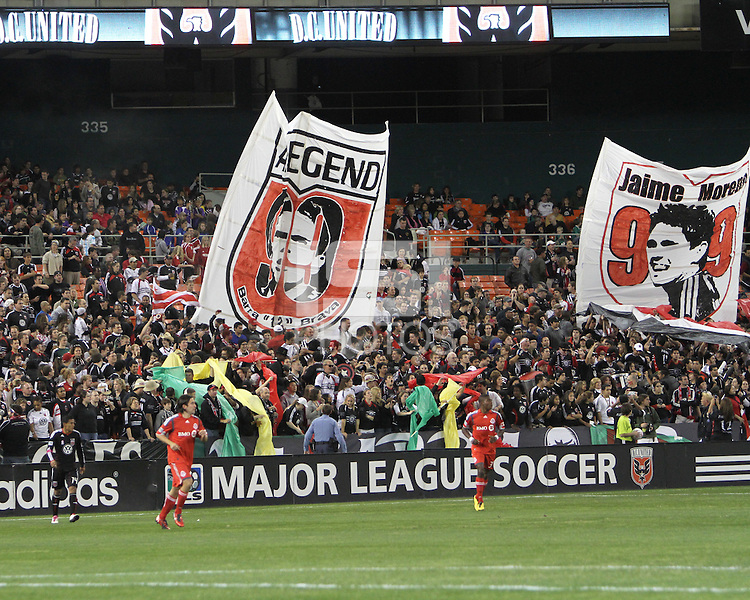 Fans with banners during festivities surrounding the final appearance of Jaime Moreno in a D.C. United uniform, at RFK Stadium, in Washington D.C. on October 23, 2010.