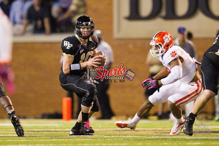 Tanner Price (10) of the Wake Forest Demon Deacons during second half action against the Clemson Tigers at BB&T Field on October 25, 2012 in Winston-Salem, North Carolina.  The Tigers defeated the Demon Deacons 42-13.  (Brian Westerholt/Sports On Film)