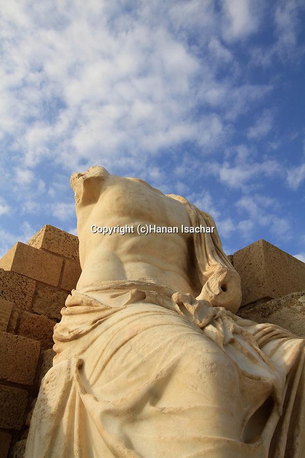 Israel, Sharon region, Roman statue in Caesarea