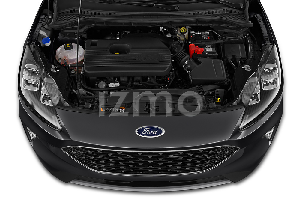 Car Stock 2020 Ford Escape Titanium 5 Door SUV Engine  high angle detail view