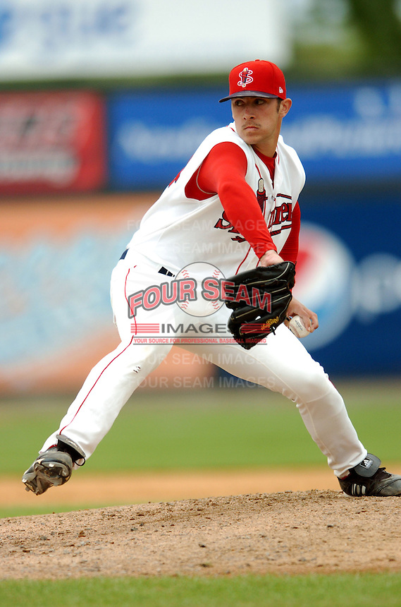 LHP Michael Burgary of the Lowell Spinners, the short season NY-P affiliate of the Boston Red Sox ,at LeLacheur Field in Lowell, MA on August 9, 2009. Burgary was Boston's 15th round pick in the 2009 draft. (Photo by Ken Babbitt/Four Seam Images)