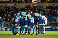 Wycombe pre match team huddle during the Sky Bet League 2 match between Wycombe Wanderers and Plymouth Argyle at Adams Park, High Wycombe, England on 14 March 2017. Photo by Kevin Prescod / PRiME Media Images.