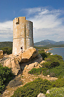 Corsica. Tour d'Olmeto. Olmeto Tower. Genoese watchtower near Roccapina in southern Corsica. France.  Model released.