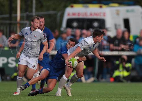 25th August 2017, Donnybrook Stadium, Dublin, Ireland; Pre Season Rugby Friendly; Leinster Rugby versus Bath Rugby; Jamison Gibson-Park (Leinster) tackles Freddie Burns (Bath)
