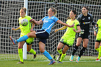 Piscataway, NJ - Sunday June 19, 2016: Leah Galton, Elli Reed, Kiersten Dallstream, Hope Solo during a regular season National Women's Soccer League (NWSL) match between Sky Blue FC and Seattle Reign FC at Yurcak Field.
