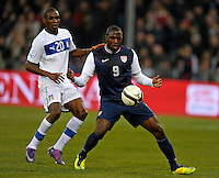 Angelo Obinze Ogbonna (l, ITA), Jozy Altidore (r,USA), during the friendly match Italy against USA at the Stadium Luigi Ferraris at Genoa Italy on february the 29th, 2012.