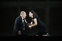 Oper Frankfurt presents BLUEBEARD'S CASTLE, by Bartok,  as part of the Edinburgh International Festival. Robert Hayward as Bluebeard and Anja Ariane Baumgartner as Judith. Photograph © Jane Hobson.