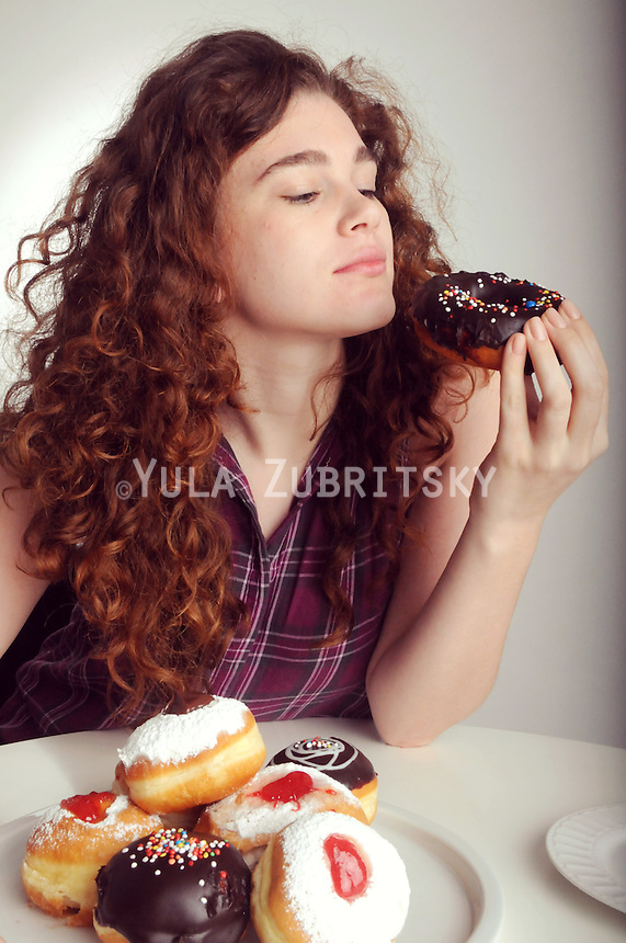 Hanukkah donuts with beautiful natural look model