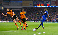 Sol Bamba of Cardiff City sees his shot blocked by Ryan Bennett of Wolverhampton Wanderers during the Sky Bet Championship match between Cardiff City and Wolverhampton Wanderers at the Cardiff City Stadium, Cardiff, Wales on 6 April 2018. Photo by Mark  Hawkins / PRiME Media Images.