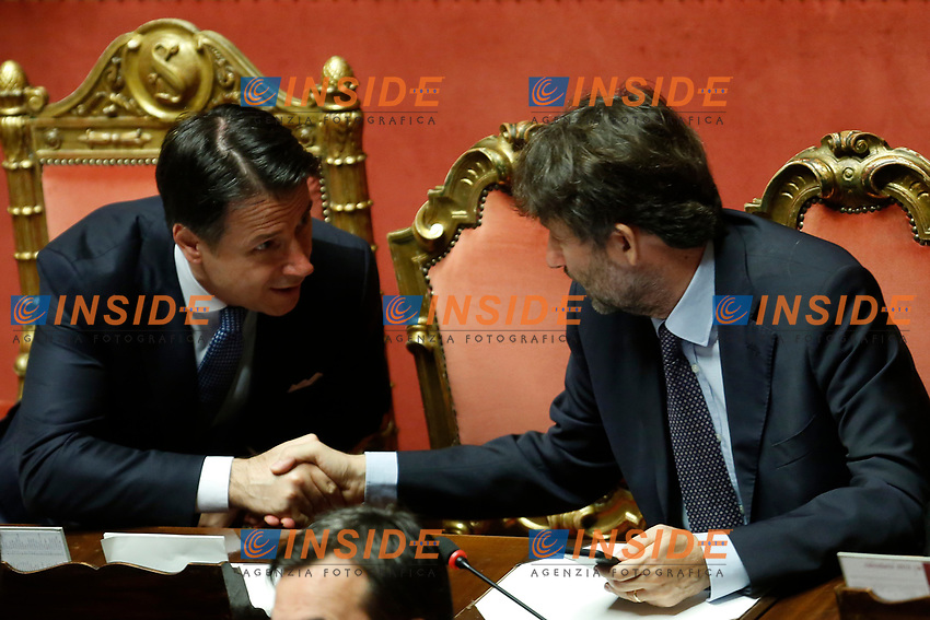 Giuseppe Conte and Dario Franceschini<br /> Rome September 10th 2019. Senate. Discussion and Trust vote at the new Government. <br /> Foto  Samantha Zucchi Insidefoto