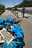"FoLAR's annual ""La Gran Limpieza"" clean up of the Los Angeles River. Bette Davis Picnic Area. Glendale Narrows. Los Angeles."