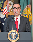 United States Secretary of the Treasury Steven Mnuchin makes remarks prior to US President Donald J. Trump signing three Executive Orders concerning financial services at the Department of the Treasury in Washington, DC on April 21, 2017.<br /> Credit: Ron Sachs / Pool via CNP