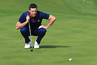 Rory McIlroy (Team Europe) on the 3rd green during the Friday Foursomes at the Ryder Cup, Le Golf National, Ile-de-France, France. 28/09/2018.<br /> Picture Thos Caffrey / Golffile.ie<br /> <br /> All photo usage must carry mandatory copyright credit (© Golffile | Thos Caffrey)
