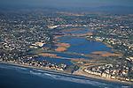 Aerial over Buena Vista Lagoon, Carlsbad,+Northern San Diego Region Coastline San Diego County, CALIFORNIA
