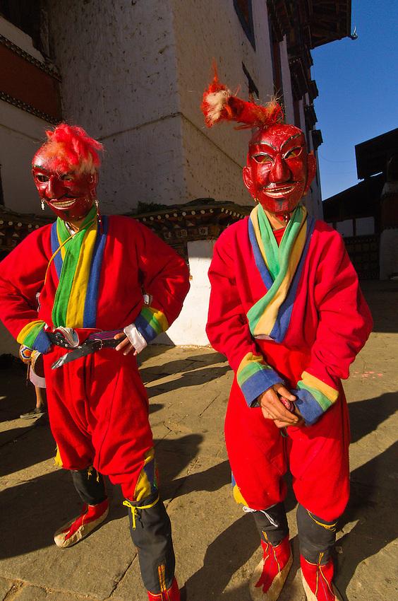 Masked clowns, Paro Teschu festival, Paro Dzong Monastery,  Paro Valley, Bhutan