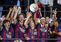 FUSSBALL  CHAMPIONS LEAGUE  FINALE  SAISON 2014/2015   Juventus Turin - FC Barcelona                 06.06.2015 Der FC Barcelona gewinnt die Champions League 2015: Lionel Messi, Ivan Rakitic, Andres Iniesta und Neymar jubeln in der ersten Reihe