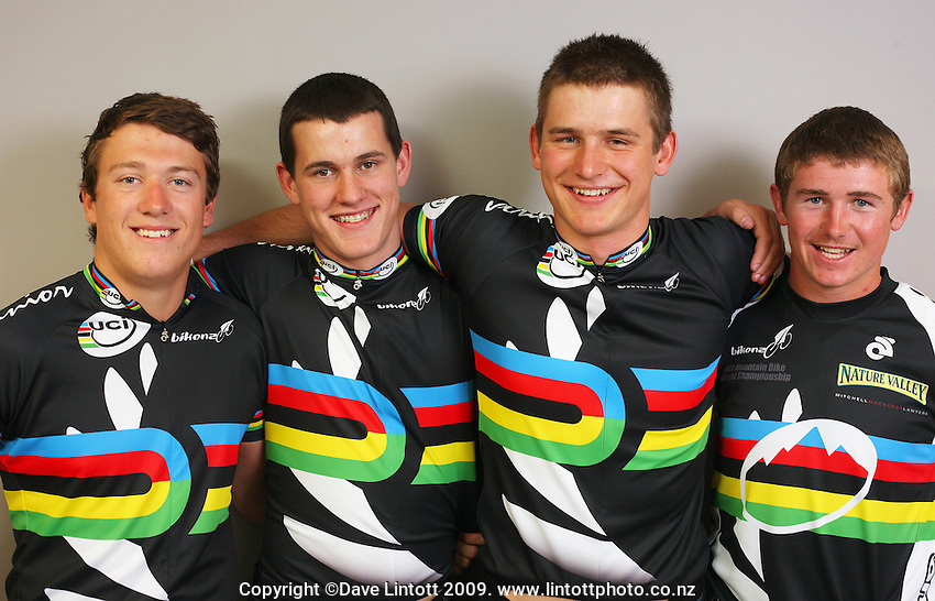 BikeNZ Junior Track Sprint team of (from left) Ethan Mitchell, Sam Webster, Cameron Karwowski, and Junior Downhill World Champ Brook McDonald. BikeNZ/SPARC World Champions media session at Sparc Headquarters, Wellington, New Zealand on Wednesday, 2 December 2009. Photo: Dave Lintott / lintottphoto.co.nz