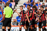 Ryan Fraser of AFC Bournemouth second right is congratulated on scoring the first goal during AFC Bournemouth vs Leicester City, Premier League Football at the Vitality Stadium on 15th September 2018