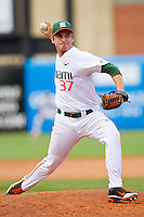 Miami Hurricanes relief pitcher Eric Nedeljkovic #37 delivers a pitch to the plate against the Georgia Tech Yellow Jackets at the 2012 ACC Baseball Championship at NewBridge Bank Park on May 27, 2012 in Winston-Salem, North Carolina.  The Yellow Jackets defeated the Hurricanes 8-5.  (Brian Westerholt/Four Seam Images)