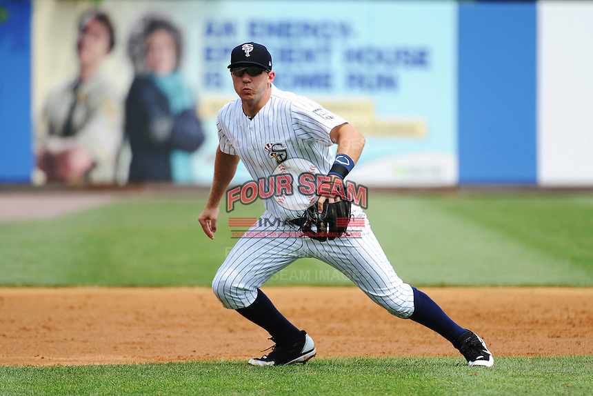Staten Island Yankees infielder Eric Jagielo (14) during game against the Mahoning Valley Scrappers at Richmond County Bank Ballpark at St.George on July 22, 2013 in Staten Island, NY.  Mahoning Valley defeated Staten Island 8-2.  Tomasso DeRosa/Four Seam Images