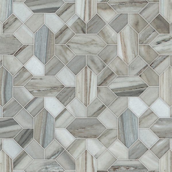 Winona, a waterjet stone mosaic, shown in honed Horizon, is part of the Semplice® collection for New Ravenna.