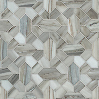 Winona, a waterjet stone mosaic, shown in honed Horizon, is part of the Semplice™ collection for New Ravenna.
