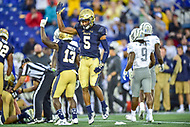 Annapolis, MD - September 8, 2018: Navy Midshipmen defensive back Michael McMorris (5) celebrates a turnover on defense during game between Memphis and Navy at  Navy-Marine Corps Memorial Stadium in Annapolis, MD. (Photo by Phillip Peters/Media Images International)